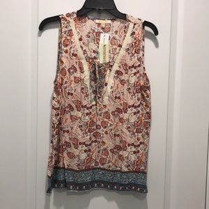 Floral print tank with lace up detail